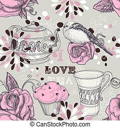 té, amor, seamless, patrón