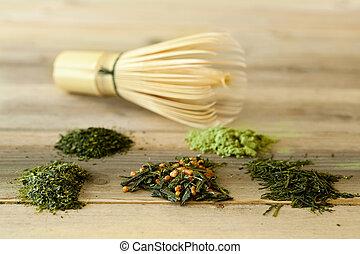 té, bambú, verde, batidor