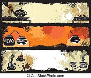 té, café, yerba, compañero, banners.