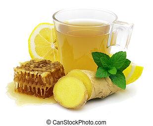 té, caliente, jengibre