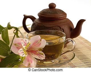 té, ceremony., té verde, flor, y, tetera