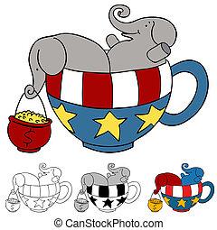 té, donaciones, fiesta, elefante