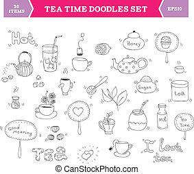 té, garabato, vector, elementos