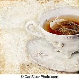 té, grunge, plano de fondo, taza