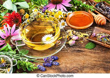 té herbario, con, miel
