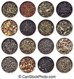 té herbario, negro, verde, blanco