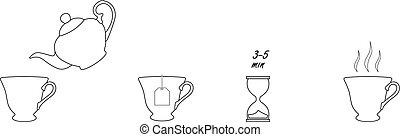 té, instrucción, iconos