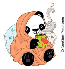 té, manta, cómodo, panda