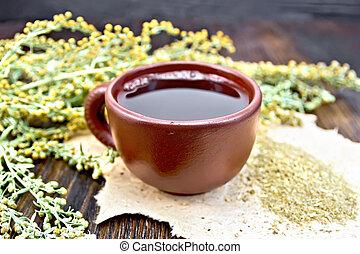 té, marrón, tabla, ajenjo, taza
