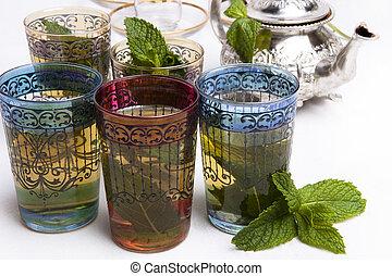 té, marroquí, menta, tradicional