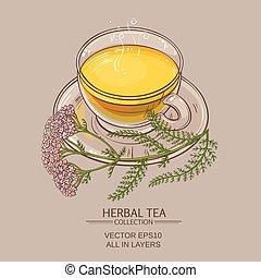 té, milenrama, taza
