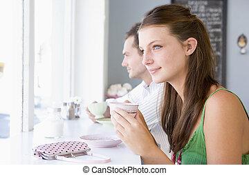 té, pareja, café, bebida, joven