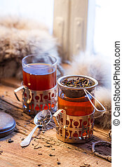 té, pasado de moda, warming, servido