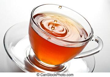 té, salpicadura, vidrio, taza