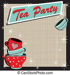 té, tazas, apilado, fiesta