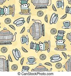 té, tazas, seamless, patrón