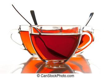 té, tazas, y, té