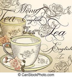 té, vector, plano de fondo, con, taza, y, rosas, en, un,...
