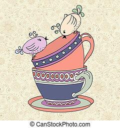 té, vector, plantilla, invitación, fiesta, tarjeta