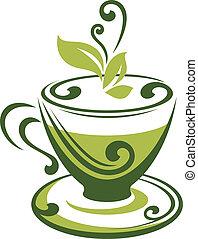 té, vector, verde, icono, taza