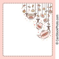 té, vendimia, conjunto, cakes., dulce