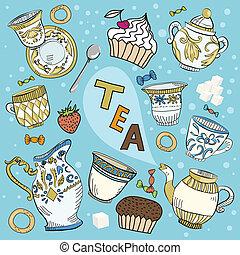 té, victoriano, conjunto, caricatura