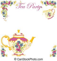 té, victoriano, olla, fiesta, invitación