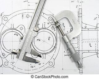 técnico, 1, dibujos, calibrador, micrómetro