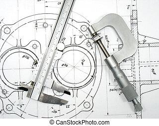 técnico, 2, dibujos, calibrador, micrómetro