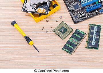 técnico, apoio, actualização, parte, e, afixando, laptop.