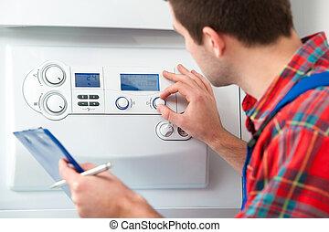 técnico, aquecimento, caldeira, consertando