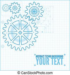 técnico, blueprint, ilustração