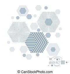 técnico, círculos, hexágonos, desenho, lines., tecnologia, feito, vetorial, papel parede, engenharia, experiência., abstratos
