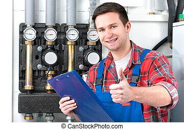 técnico, calefacción, caldera, mantenimiento