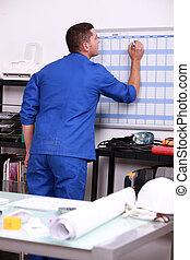 técnico, calendario, joven, escritura