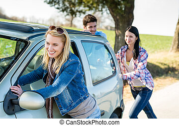 técnico, coche, empujar, joven, fracaso, amigos, camino