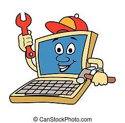 técnico, computador portatil