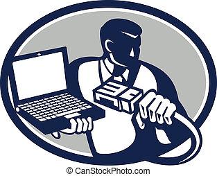 técnico computador, segurando, laptop, cabo, retro