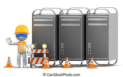 técnico, con, computadoras