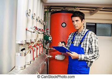 técnico de calefacciones, en, el, sala de calderas