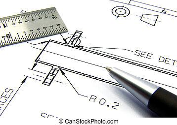 técnico, esboço, 2, caneta