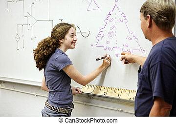 técnico, estudiante femenino
