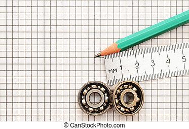 técnico, herramientas, en, un, plano de fondo