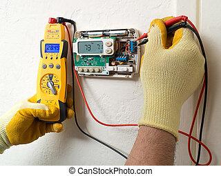 técnico, hispânico, condicionamento, ar