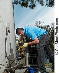 técnico, hispânico, macho, air-conditioning, manutenção