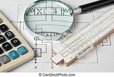 técnico, ingeniería, herramientas, dibujo