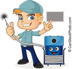 técnico, máquina, hvac, segurando, limpeza