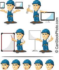 técnico, mascote, repairman, ou, 16