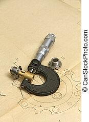 técnico, medición, herramientas, dibujo