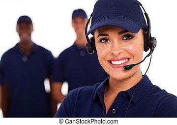 técnico, operador, apoyo, centro de la llamada
